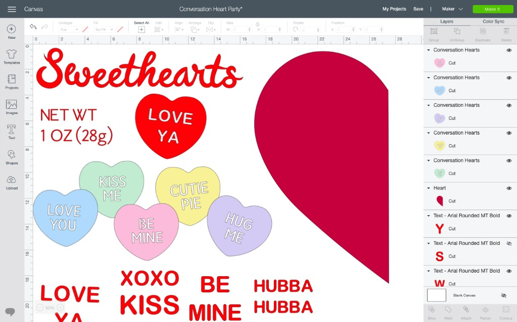Conversation heart party svg
