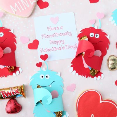 DIY Cricut Monster Valentine Candy Cards