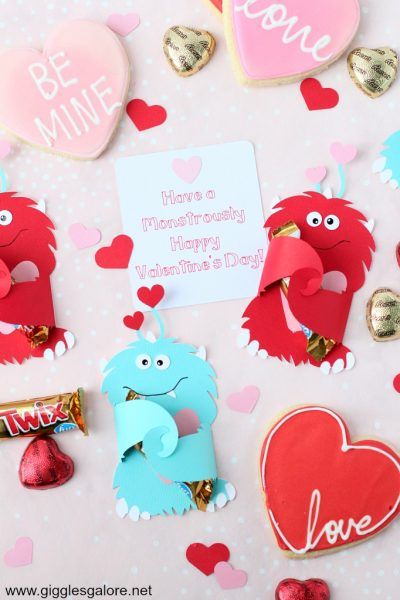 Diy monster valentine candy card