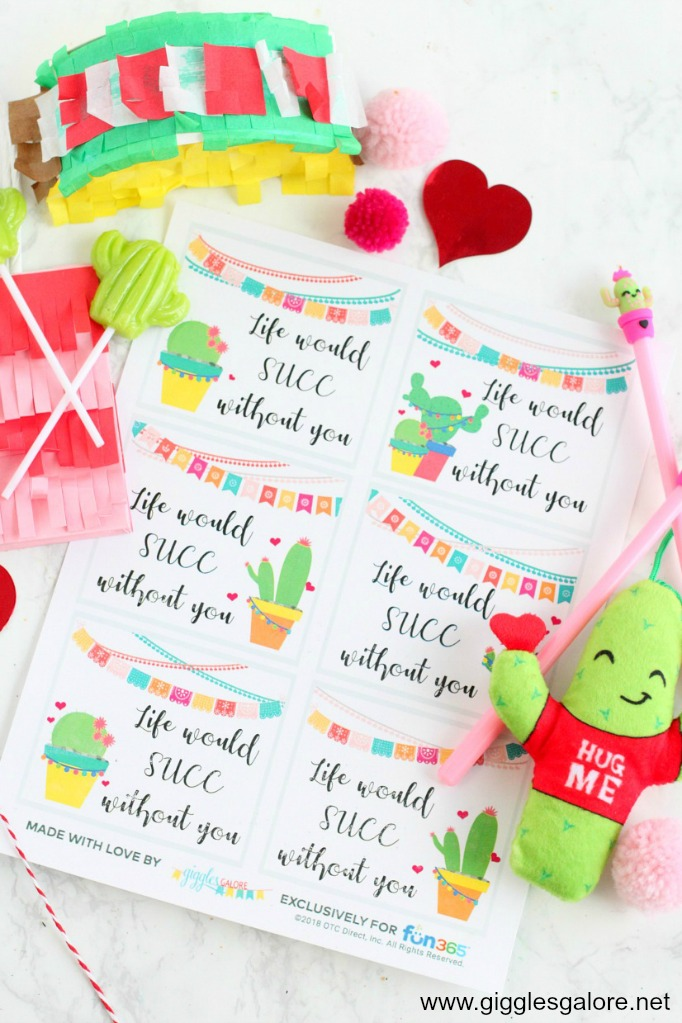 Free succulent valentine tag printables