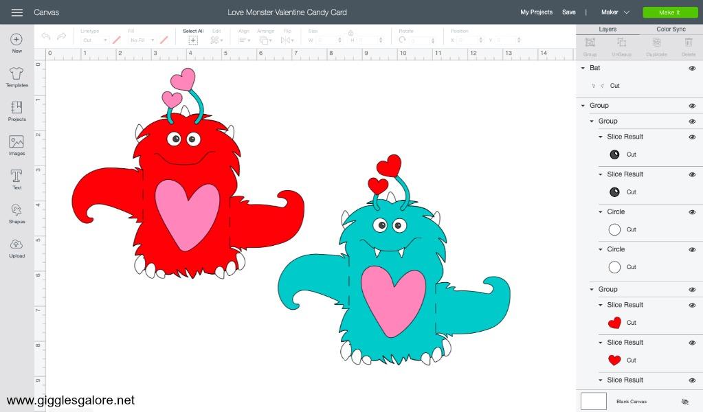 Love monster valentine card svg