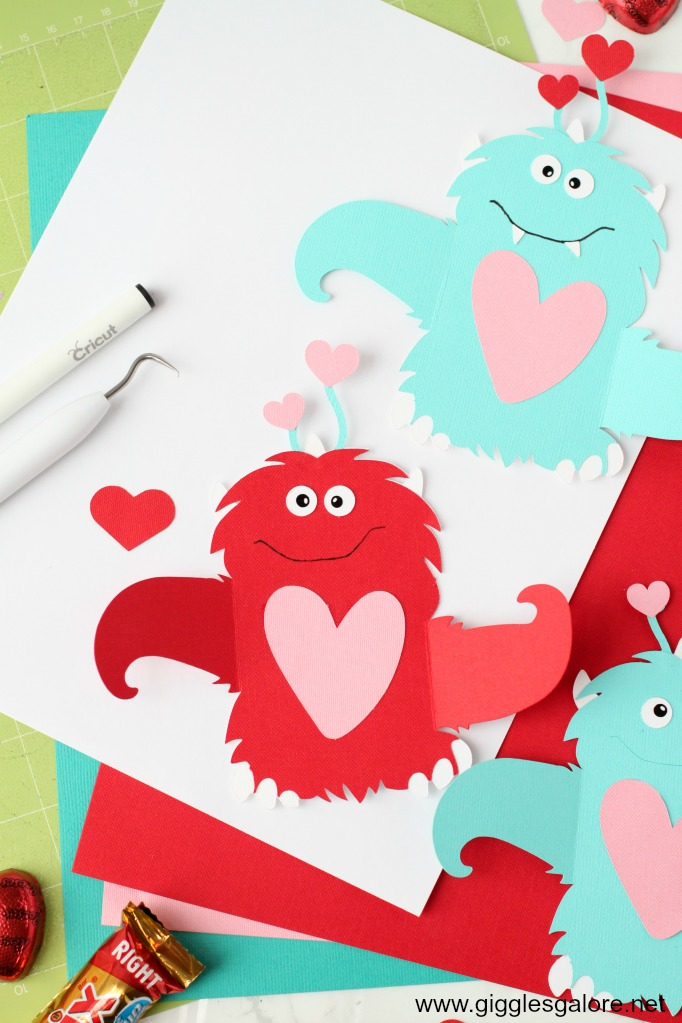 Monster valentine candy card