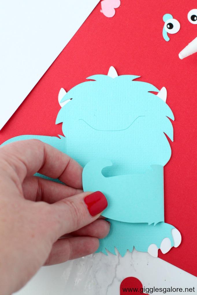 Monster valentine card step 3