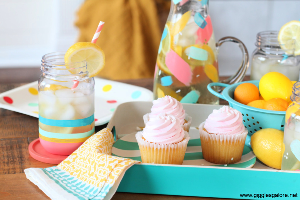 Colorful diy painted cups and cupcakes