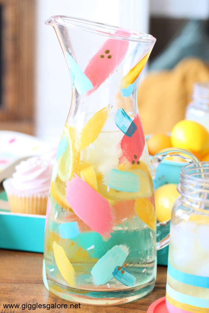 Colorful painted brushstroke pitcher