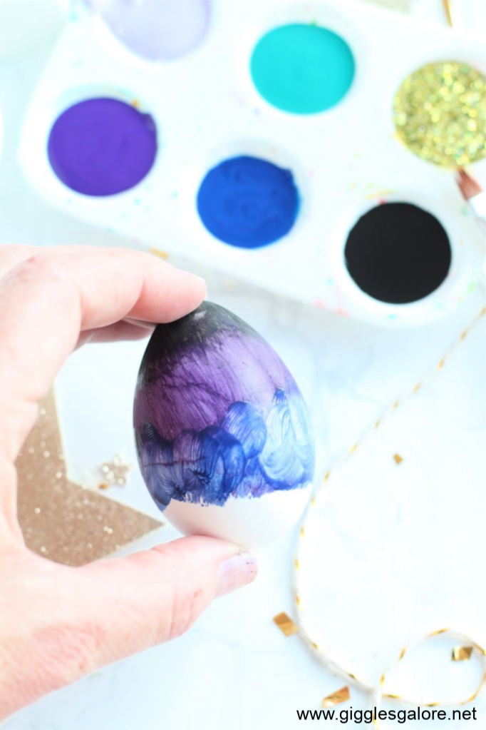 Galaxy easter eggs purple paint