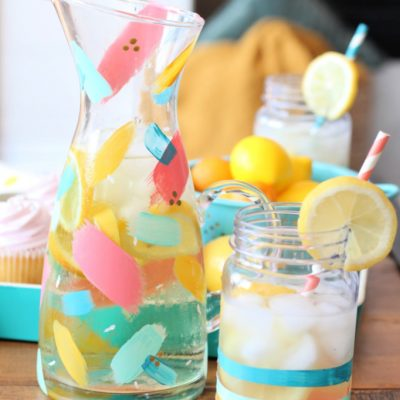 DIY Colorful Brushstroke Painted Pitcher