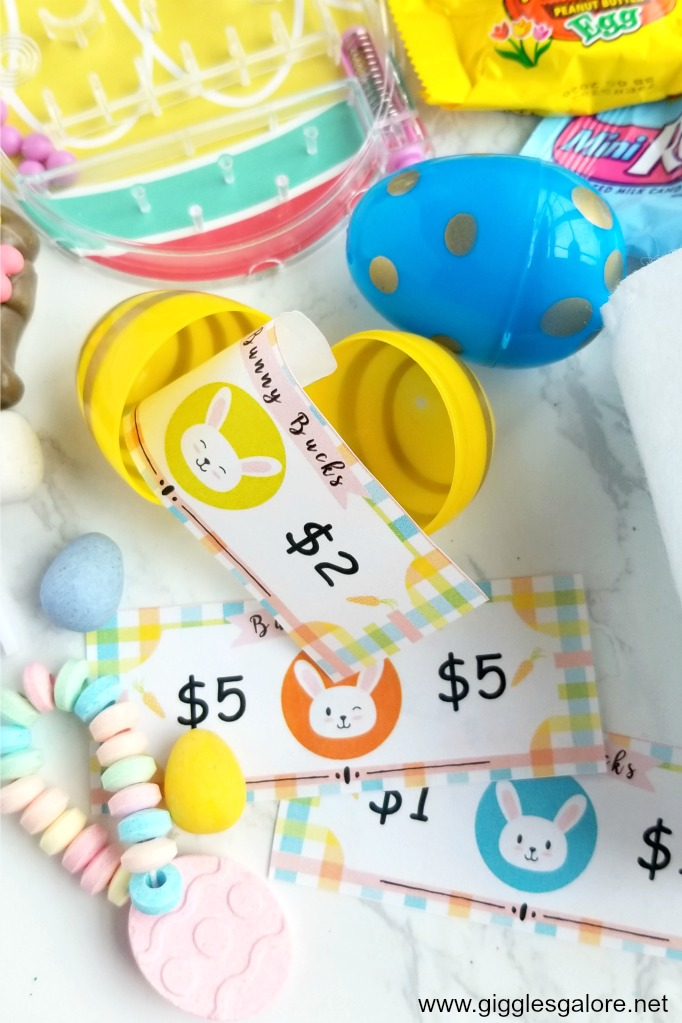 Bunny bucks in easter eggs