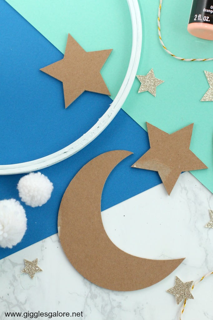 Chipboard moon and stars