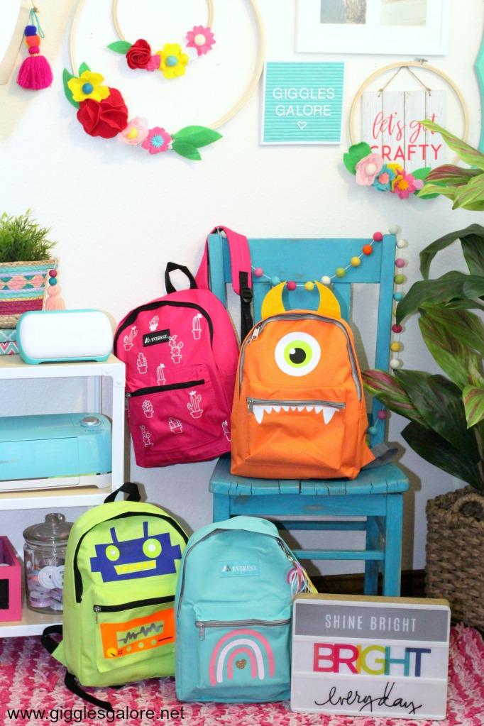 Colorful diy kids backpacks