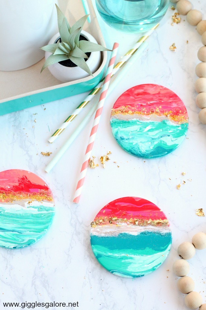 Diy beach inspired coasters