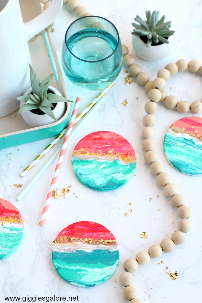 Diy beach sunset paint pour coasters