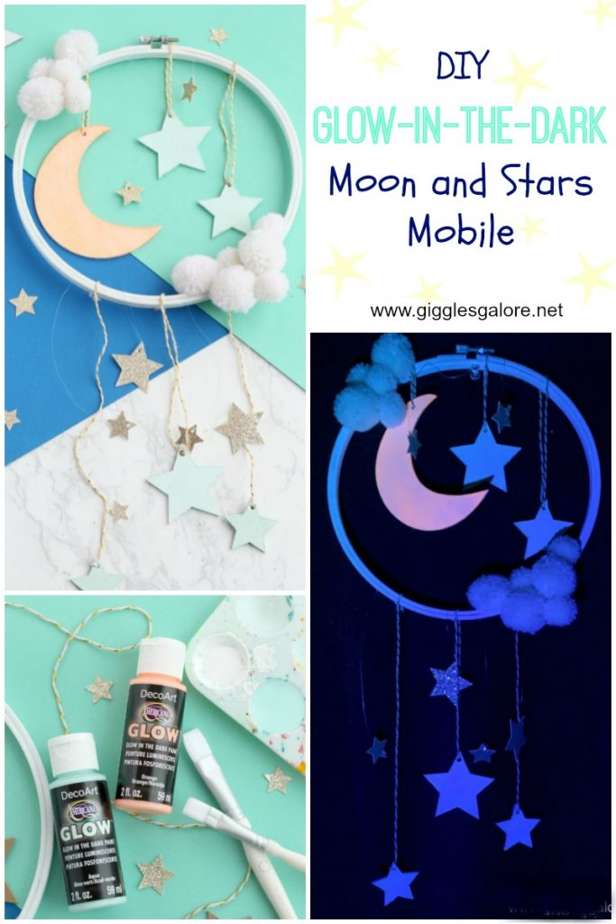 Diy glow in the dark moon and stars mobile giggles galore