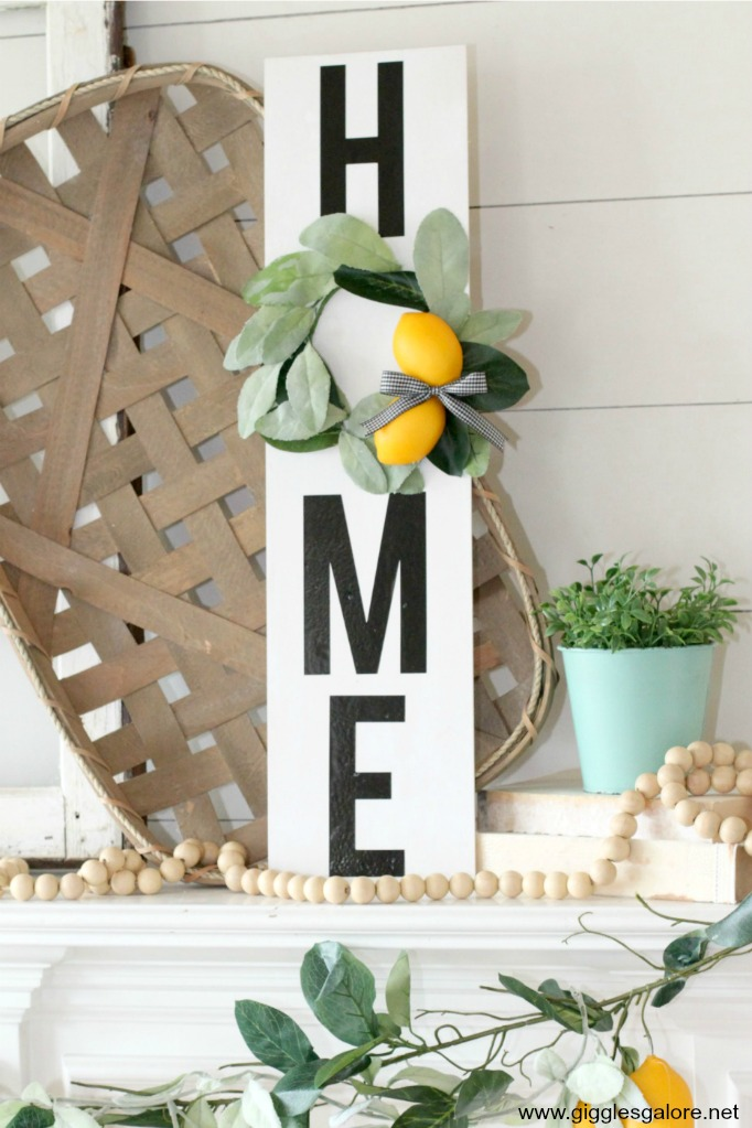 Diy home sign with lemon wreath