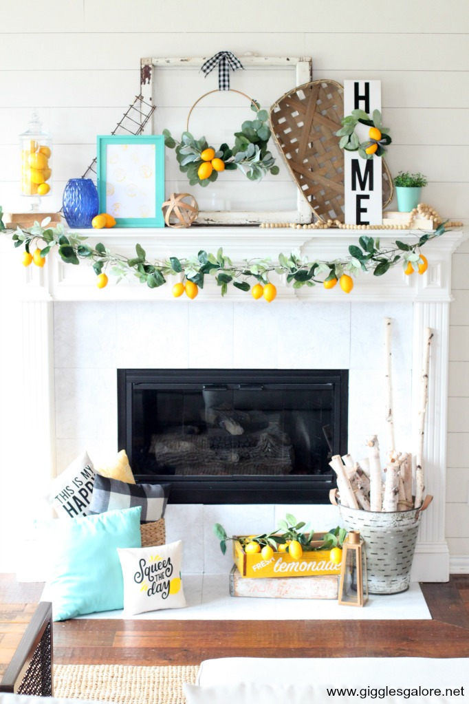 Diy lemon summer inspired mantel