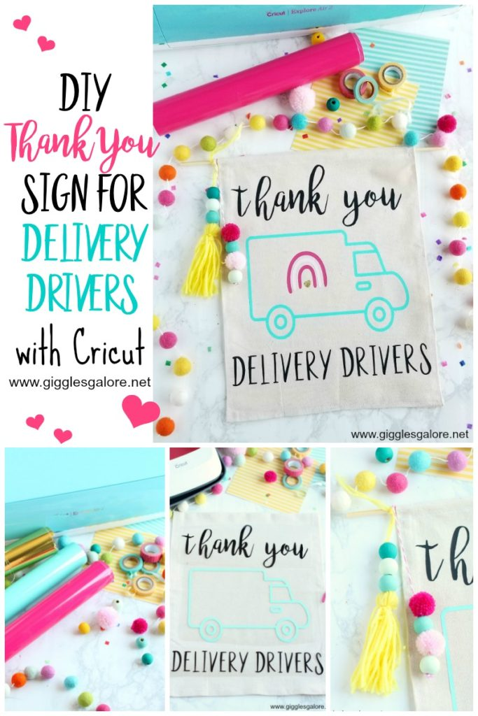 Diy thank you sign for delivery drivers with cricut giggles galore