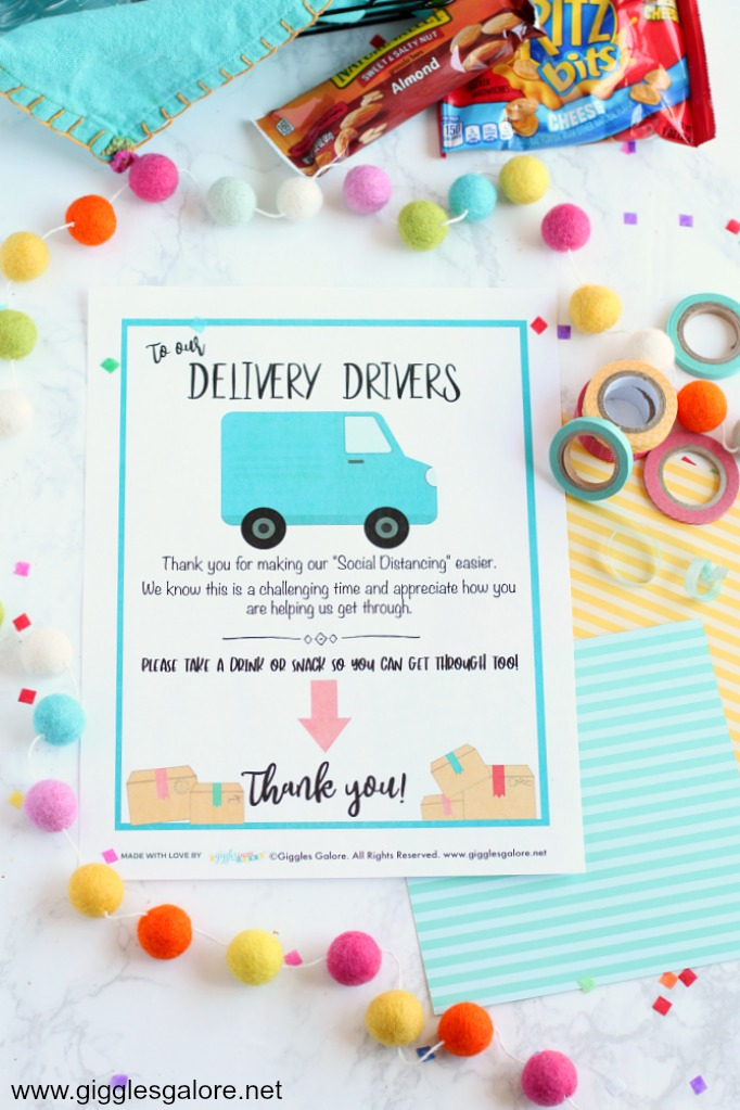 Thank you delivery drivers printable sign