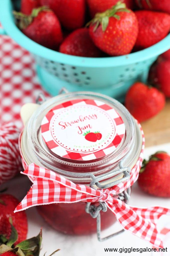 Homemade strawberry jam gifts