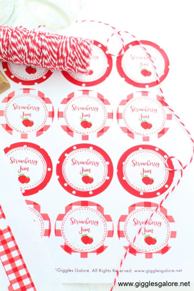 Strawberry jam jar printables