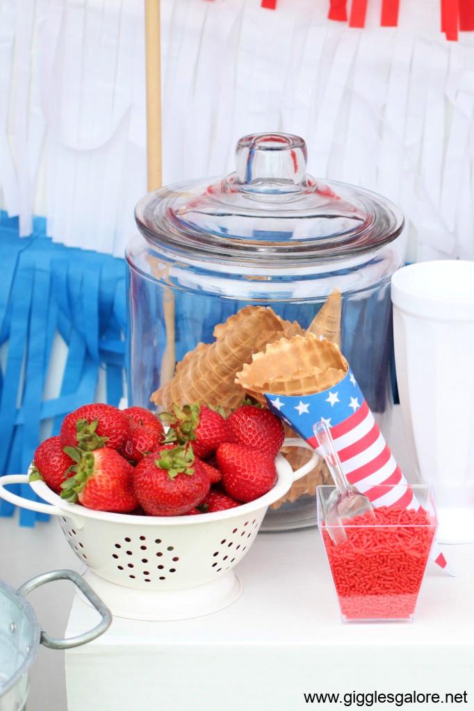Ice cream bar fresh fruit