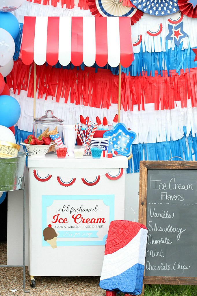 Ice cream cart and chalkboard sign