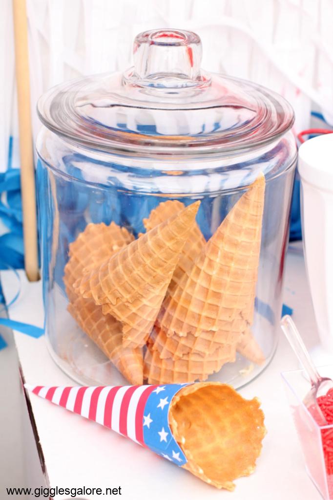 Ice cream cones in jar
