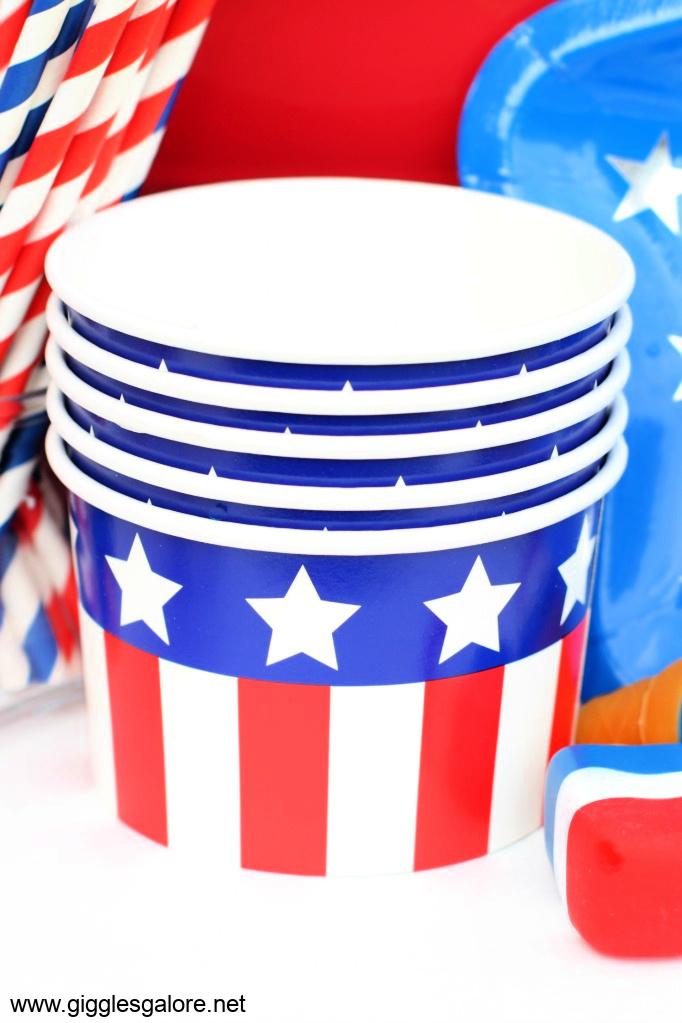 Patriotic ice cream bowls
