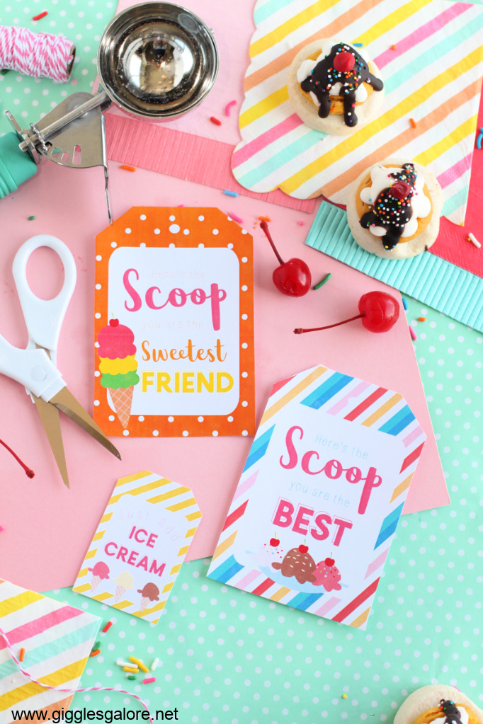 Heres the scoop ice cream printable tags