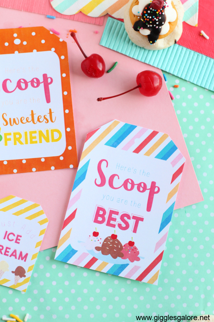 Printable ice cream heres the scoop tag