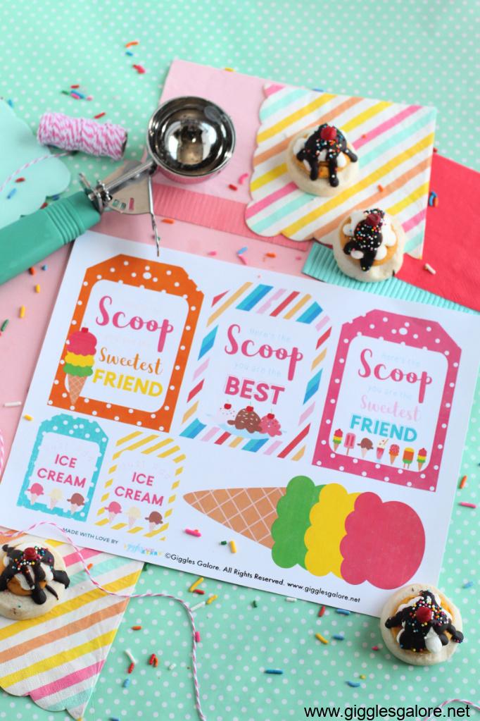 Sundae funday ice cream printable tags