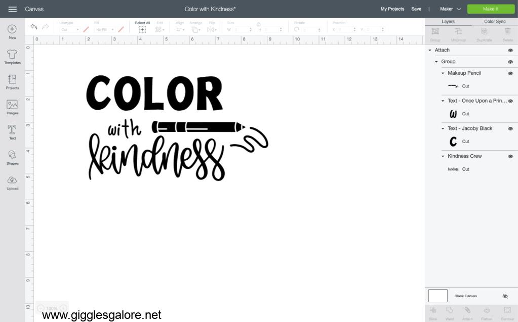 Color with kindness cricut design space