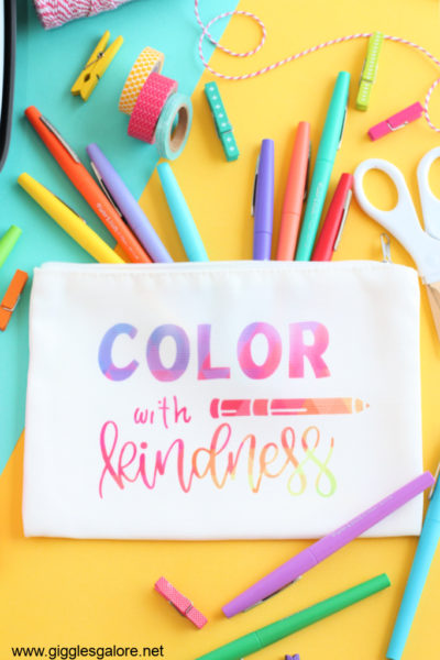 Color with kindness pencil bag cricut infusible ink