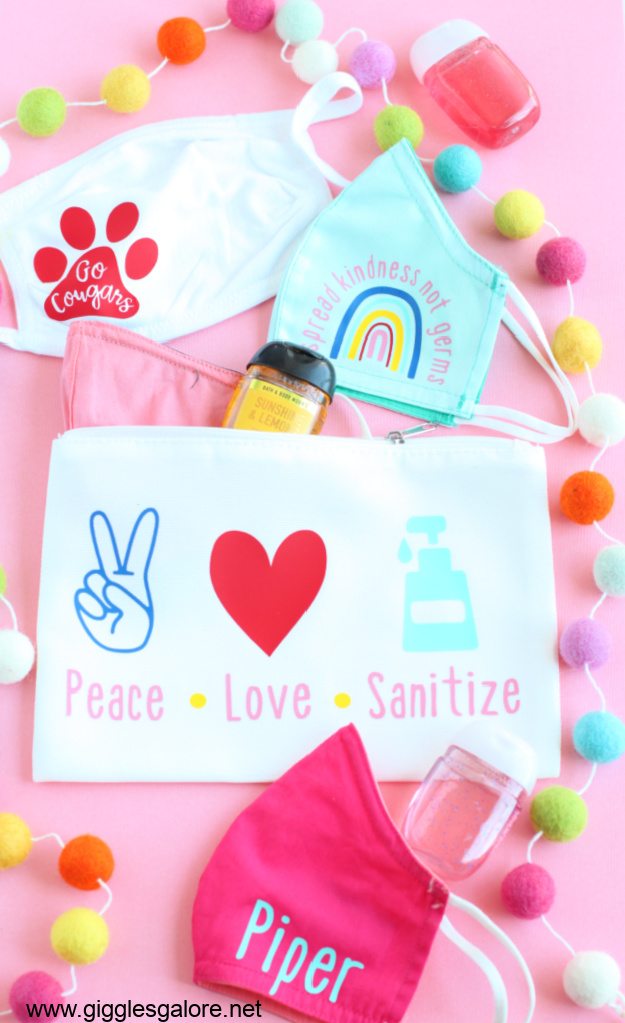Personalized masks and sanitizer bag