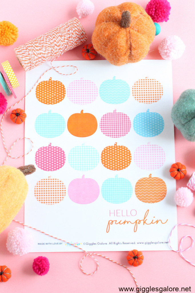 Colorful pumpkin printable art