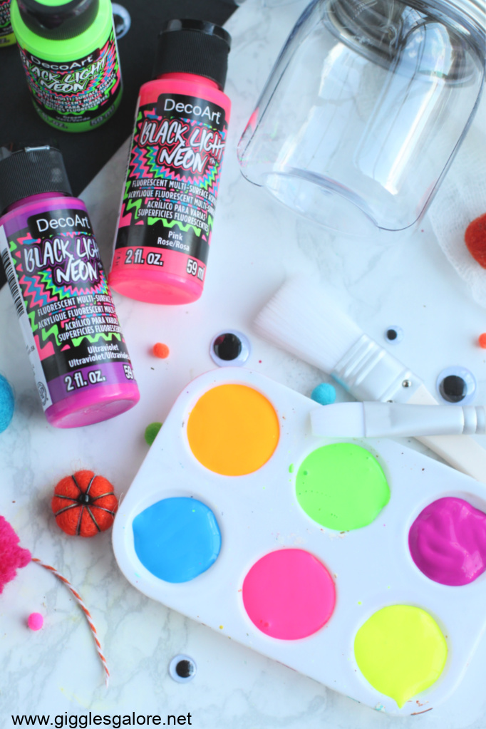 Glow in the dark monster jar supplies