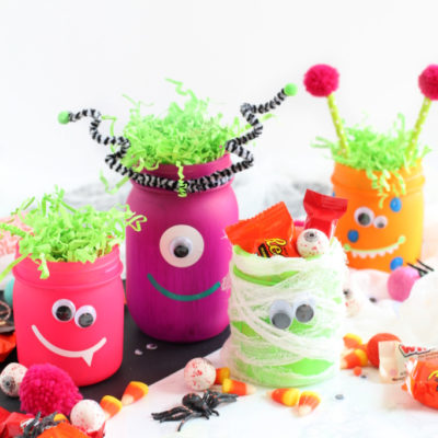 Neon Glow in the Dark Halloween Monster Jars