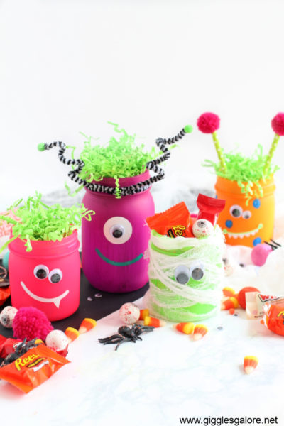 Glow o ween monster jars