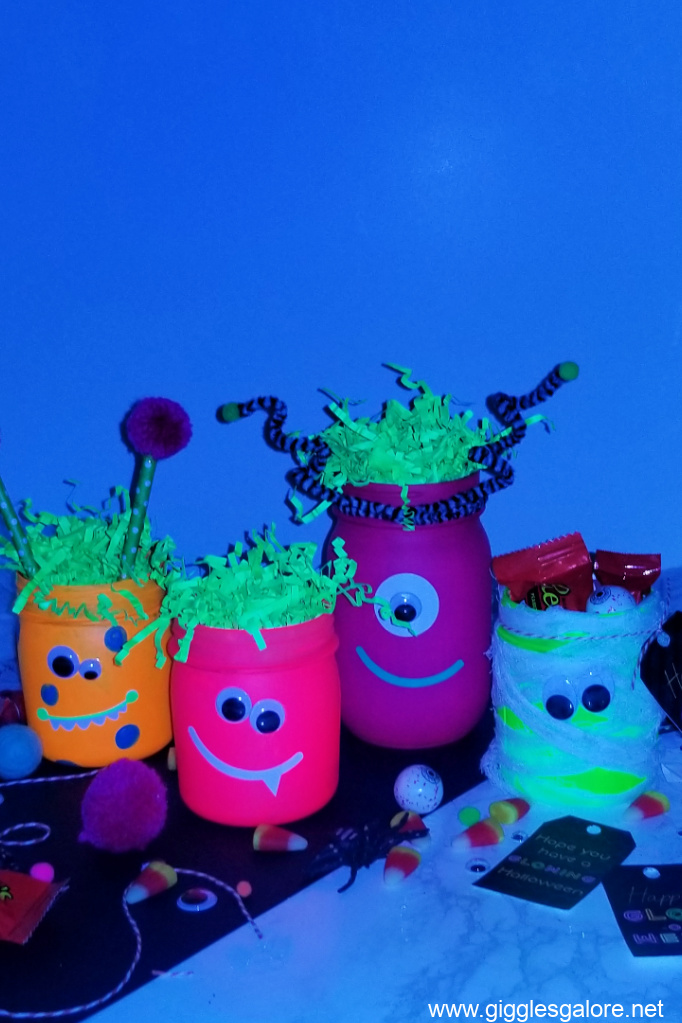 Glowing monster halloween jars