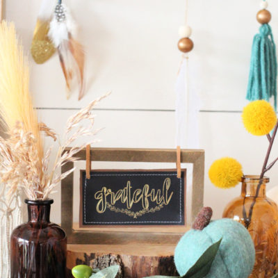 BoHo Leather and Foil Sign with Cricut