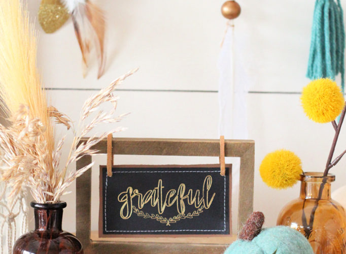 Grateful fall faux leather and foil sign
