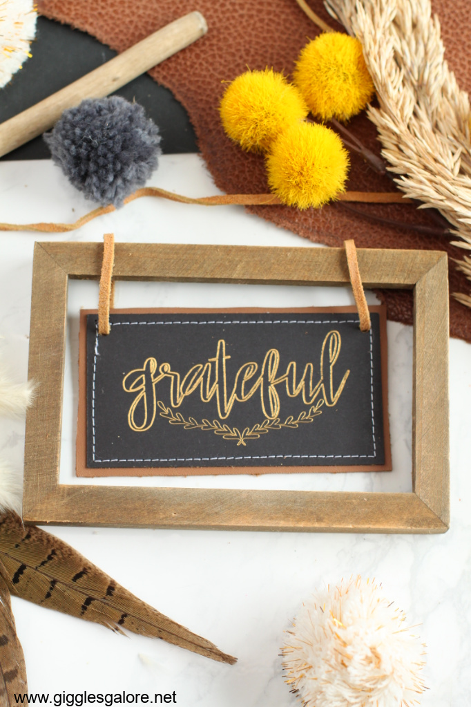 Leather and wood foil fall sign