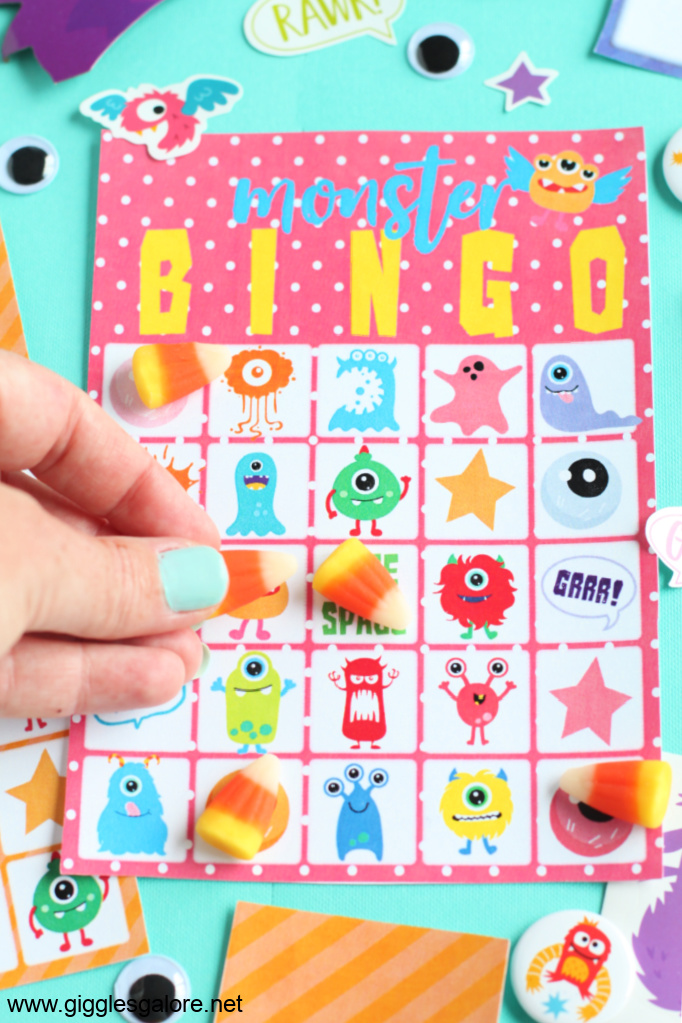 Monster bingo card and candy