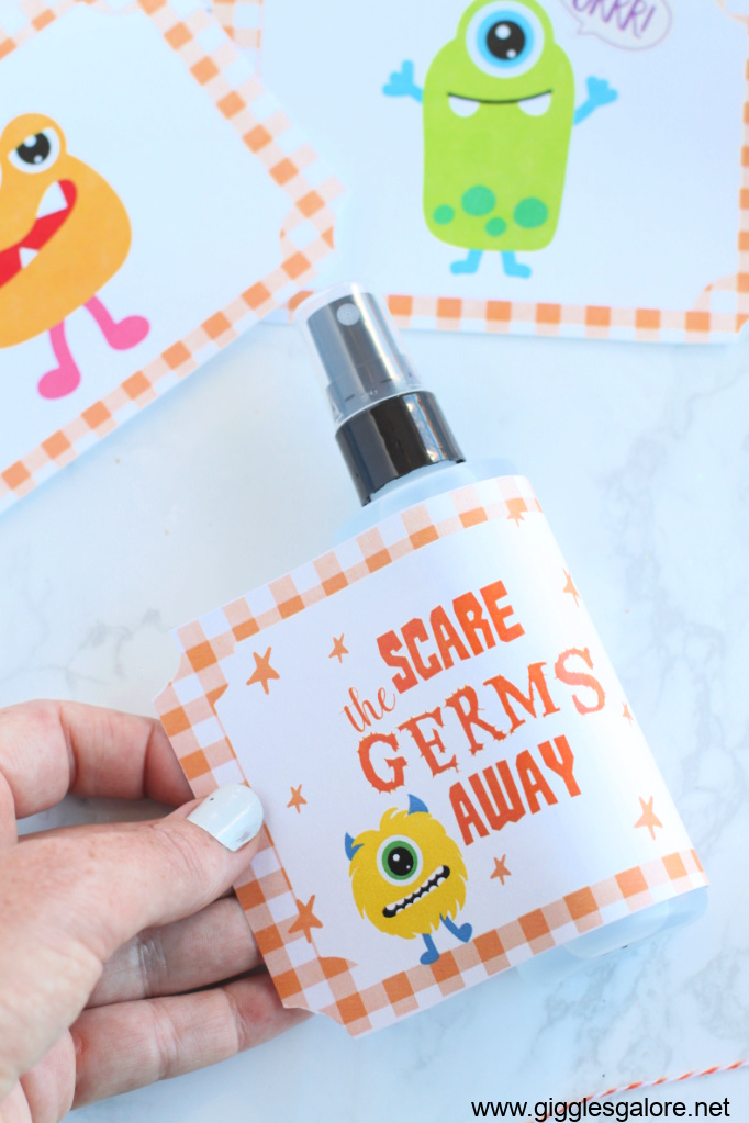 Scare the germs away sanitizer label