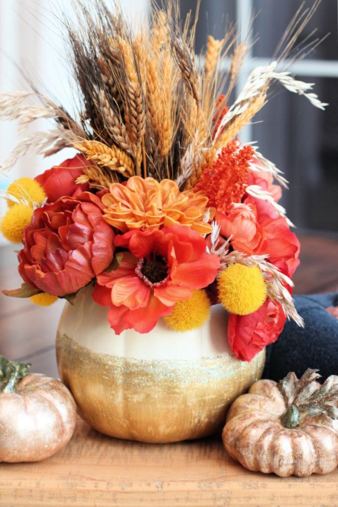Gold glitter pumpkin vase