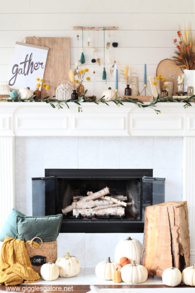 Natural boho fall mantel decor ideas