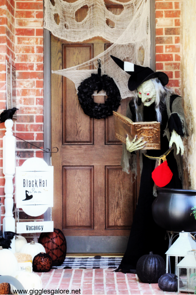 Witches inn halloween front porch ideas