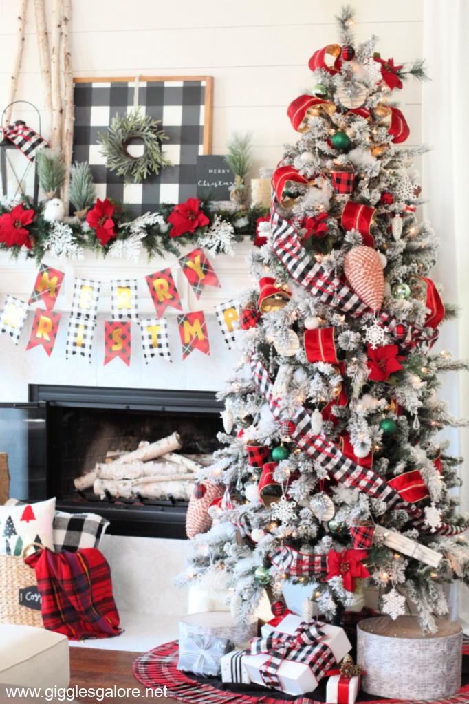 Cozy red plaid christmas tree