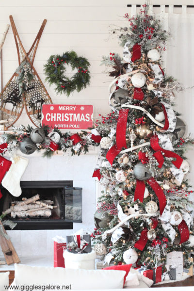 Glam ski lodge christmas tree