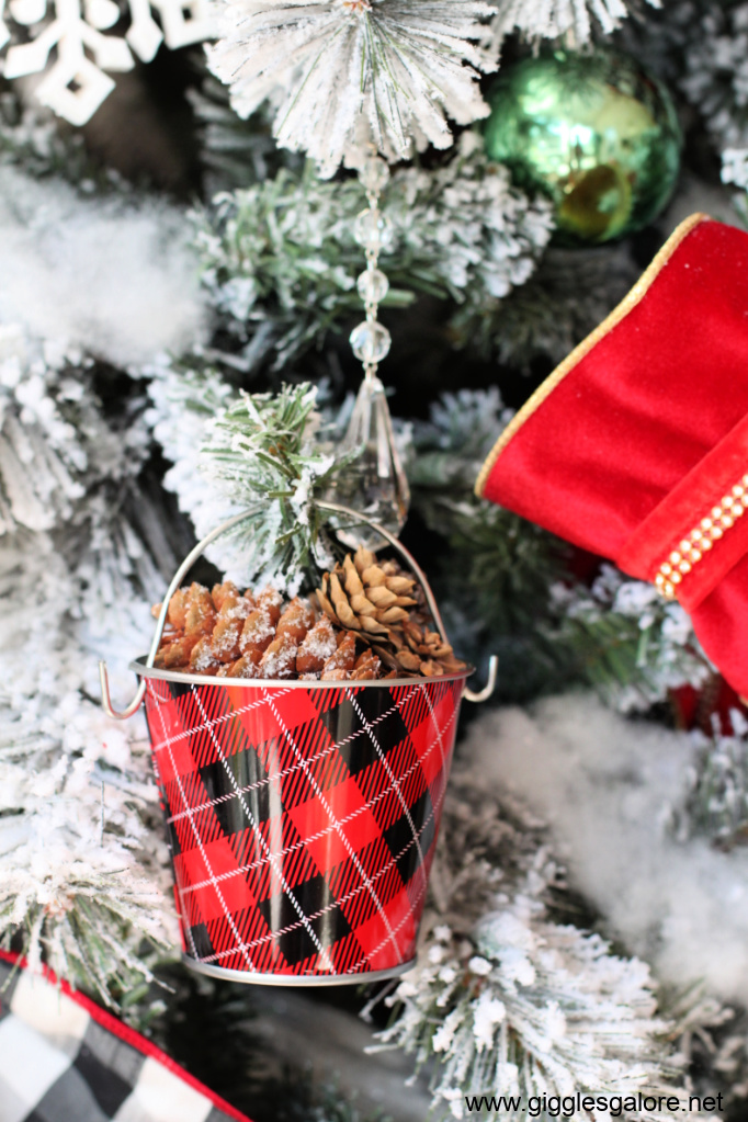 Plaid and pinecone ornament