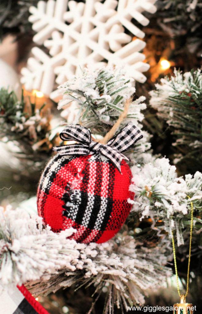 Plaid flannel ball ornament